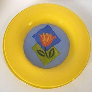 "Matys by Arcoroc Glass France Yellow Blue Orange Tulip Dessert Pie Plate 7.75"""