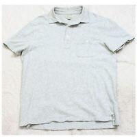 J. Crew Gray Pocket Polo Shirt Short Sleeve Men's Mans Size Medium 3-Button Top