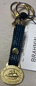 Brahmin Schooner Logo Brushed Gold 2 Ring Key Fob Green Basket weave Leather