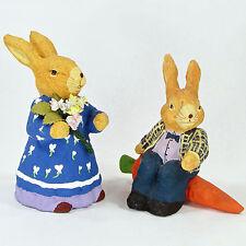 "Primitive Folk Art Paper Mache Rabbit Couple 5"" Figurine Set 2Pc Carrot Flowers"