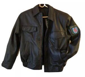 German Police ( Polizei) Leather Motorcyle Jacket Unissued And Unworn