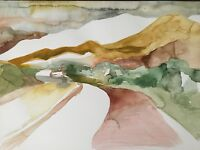 """ORIGINAL WATERCOLOR """"DESERT ABSTRACT"""" ART PAINTING ON PAPER - 15 x 11"""