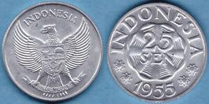 Indonesia 1955 25 Sen KM-11 Aluminum BUNC #109  US Seller