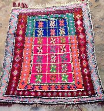 Colourful Vintage moroccan boucherouite Rag 150 X 121cm *