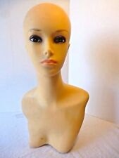 Vintage Rubber Vinyl MANNEQUIN HEAD BUST Long Neck Jewelry hat display 19""