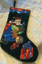 "Vintage Velvet Christmas Stocking w Sequins, Beads Dark Green 17"" Santa"