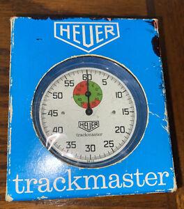 Vintage 1970's Heuer Trackmaster Stopwatch 8047 Blue Bleu w/Box Switzerland Work