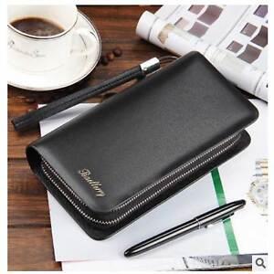 Fashion Luxury Business Long Style Men's Leather Zippers Mobile Phone Handbag