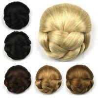 Women's Braided Hair Bun Scrunchies Clip in Chignon Retro Hairpieces Synthetic