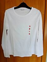 M & S Long Sleeve White Cotton T Shirt BNWT Size 18