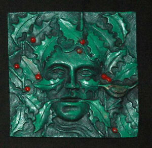 Holly king greenman green man wall plaque pagan wicca indoor version