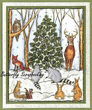 WINTER WOODLAND CHRISTMAS TREE Wood Mounted Rubber Stamp NORTHWOODS P10143 New