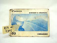 HONDA CBR600RR 2003 OWNER'S MANUAL (#196)