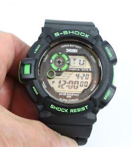 SMEI 50mm Quartz Black Strap Sport Watch Alarm Chronograph 50m Water Resistant