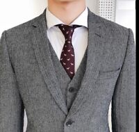Gray Men Wool Suit Tweed Formal Classic Herringbone Party Tuxedo Wedding Suit
