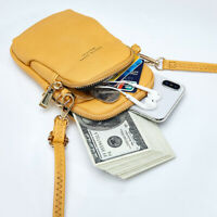 Small Leather Women Crossbody Purse Phone Card Pouch Shoulder Bag+1 free wallet