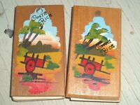 Wooden Mini Notebooks Vintage Costa Rica Hand Painted Multi Colored Folk Art