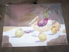 "Original Watercolor By Peg Humphreys, Garlic & Onion & NutCrackers 16.5""x22"""