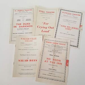 5x Vintage 1950's Various West End London Theatre Programmes Playbill