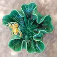 Vintage Majolica Frog On Lily Pad Lilypad Bowl Ashtray Dish French Pottery