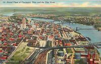 Cincinnati Ohio~Aerial View~Bridges across Ohio River~Factories 1940 Linen PC