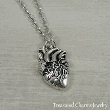 Silver Anatomical Heart Necklace - Real Lifelike Doctor Nurse Charm Pendant NEW