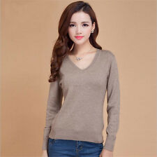 2018 Autumn&Winter Women Pullovers Cashmere Sweater V-neck Slim Knitted Sweaters