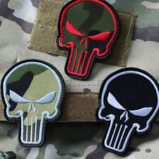 3Pcs PUNISHER SKULL Patches USA ARMY MORALE TACTICAL BADGE Embroidered PATCH