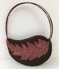 Small Beaded Handbag Brown Red Leaf Teardrop Shape Zip Top