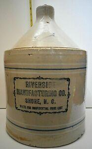 Rare Riverside Manufacturing Co Shore NC Write For Confidential Price List Jug