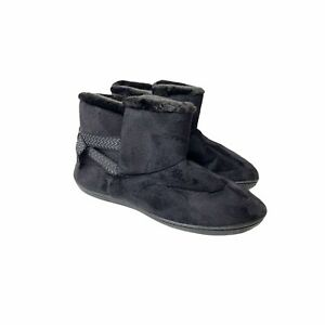 Isotoner Black Microvelour Booties L 8.5-9 Faux Fur Slippers Comfort Cozy Bow