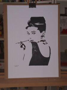Audrey Hepburn Pop Art Black & White illustration Drawing Art by L. Santos