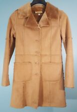 Women's Bebe Faux Suede/Fur Knee Length Coat Size XS Tan Faux Suede/Fur WARM!