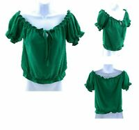 Notebuk Top Womens Green Short Sleeve Eyelet Tie Neckline Summer Casual Shirt