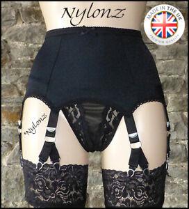 6 Strap (12 Clip) V Clip Suspender Belt BLACK (Garter Belt) NYLONZ Made In UK