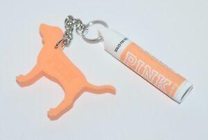 VICTORIA'S SECRET PINK ORANGE SUNSCREEN LIP BALM STICK PUPPY DOG KEYCHAIN SPF 15