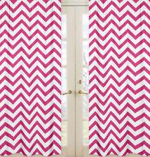 Sweet Jojo Pink & White Chevron Zigzag Window Treatment Panel Curtain Coverings