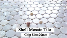 White Penny Round Shell Mosaic Tile Kitchen Backsplash Mother of Pearl Wall Tile