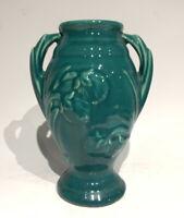 "Vintage Shawnee Pottery Green Floral Embossed 5"" Vase"