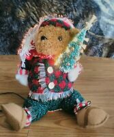 Avon Fiber Optic Twinkling Electric Lighted Christmas Holiday Teddy Bear