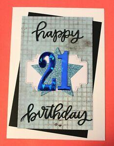 "White 5"" x 7"" Male 21st Happy Birthday Handmade Card DIY Card Making Kit"