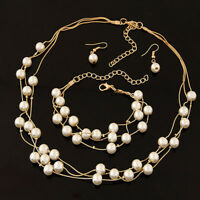 Fashion Pearls Silver Plated Necklace Earrings Bracelet Set Wedding Jewelry YJ