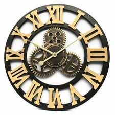 Large Metal Wall Clock Roman Numerals Alphabet Art Vintage Luxury Decorative