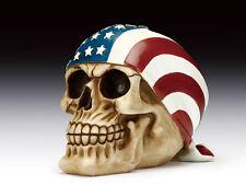 Skull with Usa Flag Headscarf Figurine Statue Skeleton Halloween