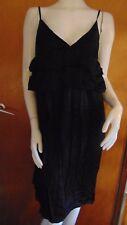 Angela Moda Silk Blend Strappy Sleeveless Frilled Dress M UK 12 Midnight BNWT