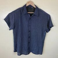 Positano Button Up Party Shirt Mens 2XL Gray Sparkle Short Sleeve Club Clubbing