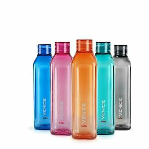 Set of 5 Cello Venice Plastic Water Bottle Set 1 Litre Assorted for Home & Gym