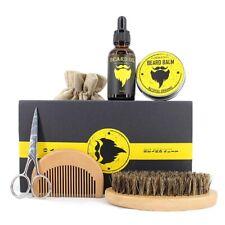 Kit de Soin Barbe Moustache Baume à l'huile Brosse Peigne Ciseaux Set