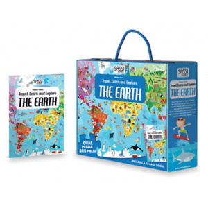 Sassi Travel, Learn and Explore - Puzzle and Book Set - The Earth, 205 pcs 6+