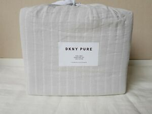 NWT DKNY PURE COMFY Gray QUEEN Bedding Sheet Set 4pc 100% Cotton